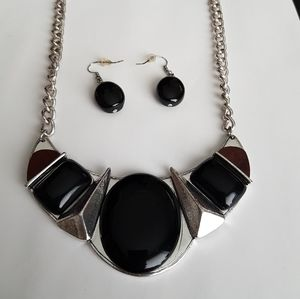 2 PC Set Necklace with Black Beads and Earrings